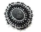 Dark Silver and Black Cameo Brooch - Beaded Pin - MegansBeadedDesigns