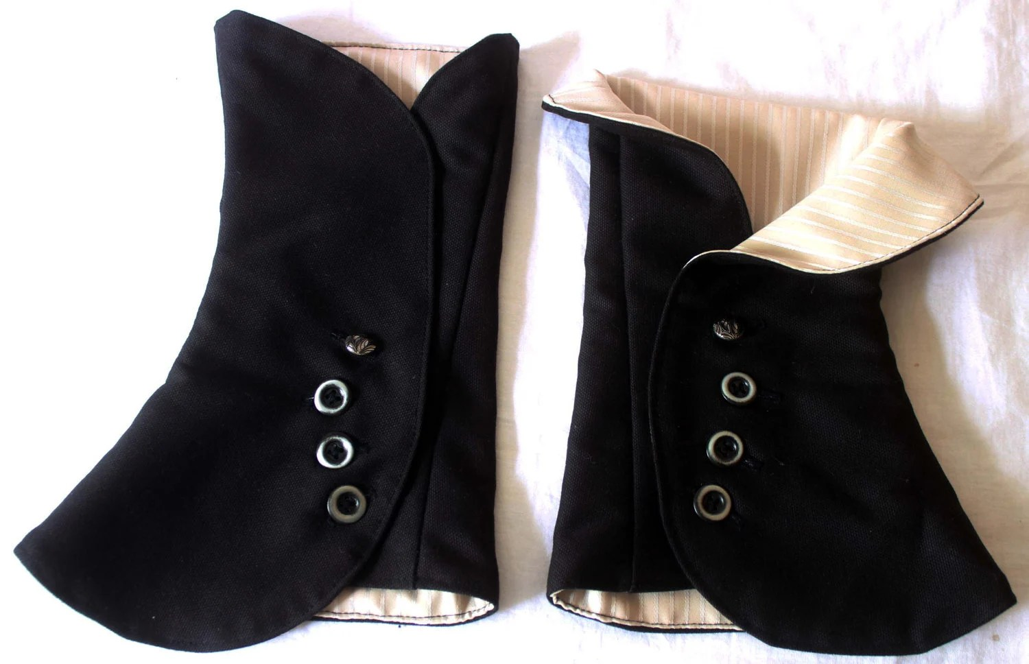 Black Spats with Cream Striped Lining