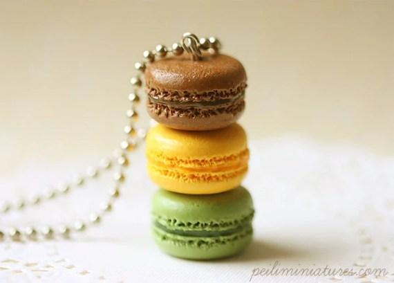 Macaron Jewelry - Trio Macarons Necklace - Gift For Her - miniaturepatisserie