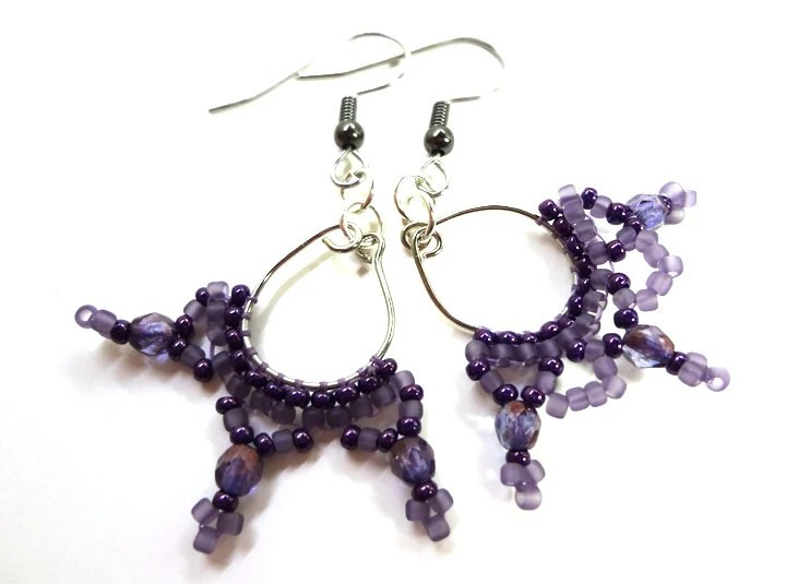 Unusual Purple Chandelier Earrings - MegansBeadedDesigns