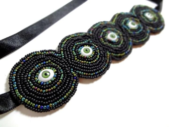 Evil Eyes Bracelet - Halloween Jewelry - Beaded in Green and Black, Cuff Ties with Black Ribbon - MegansBeadedDesigns