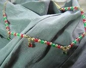 Gold, Red and Green Necklace with Small Gem Dangles - Handmade by Rewondered D225N-99274