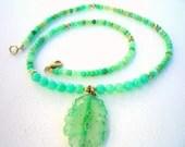 Chrysoprase Faceted Rondelle  with Chrysoprase Green Solar Quartz Coin Stalactite pendant, necklace