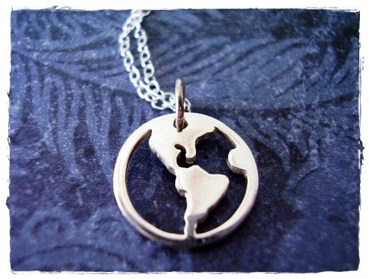 Tiny Earth Charm Necklace in Sterling Silver with a Delicate 18 Inch Sterling Silver Cable Chain - EvelynMaeCreations