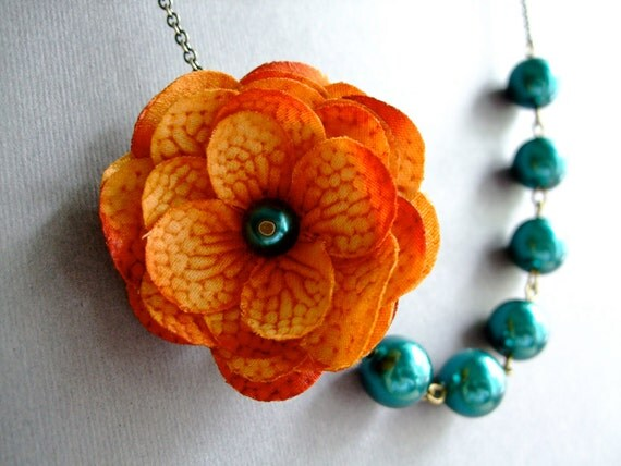 orange teal jewelry