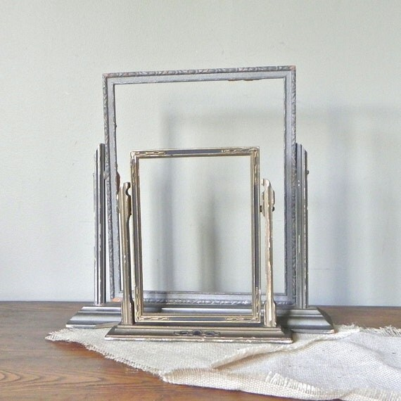 Vintage swing frames - two shabby chic rustic art deco -