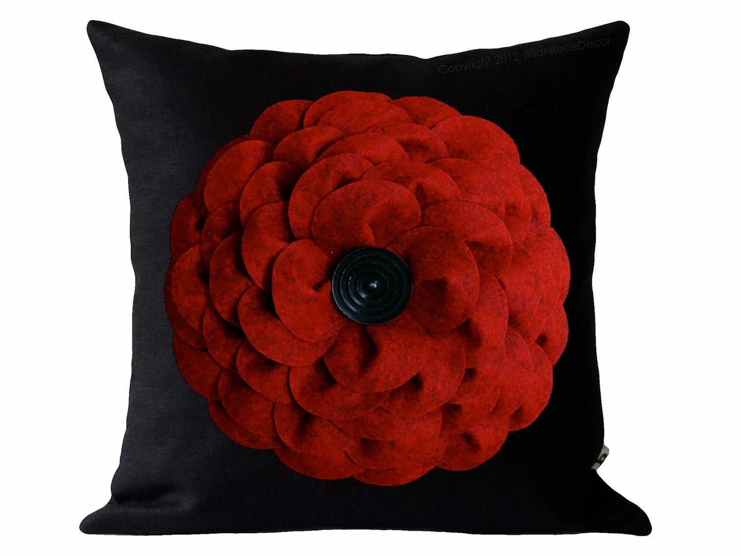 "Large Red Felt Flower 16"" DESIGNER PILLOW COVER - Black Linen - Black Wood Retro Button by JillianReneDecor Gift for Her Home Decor Under 75 - JillianReneDecor"