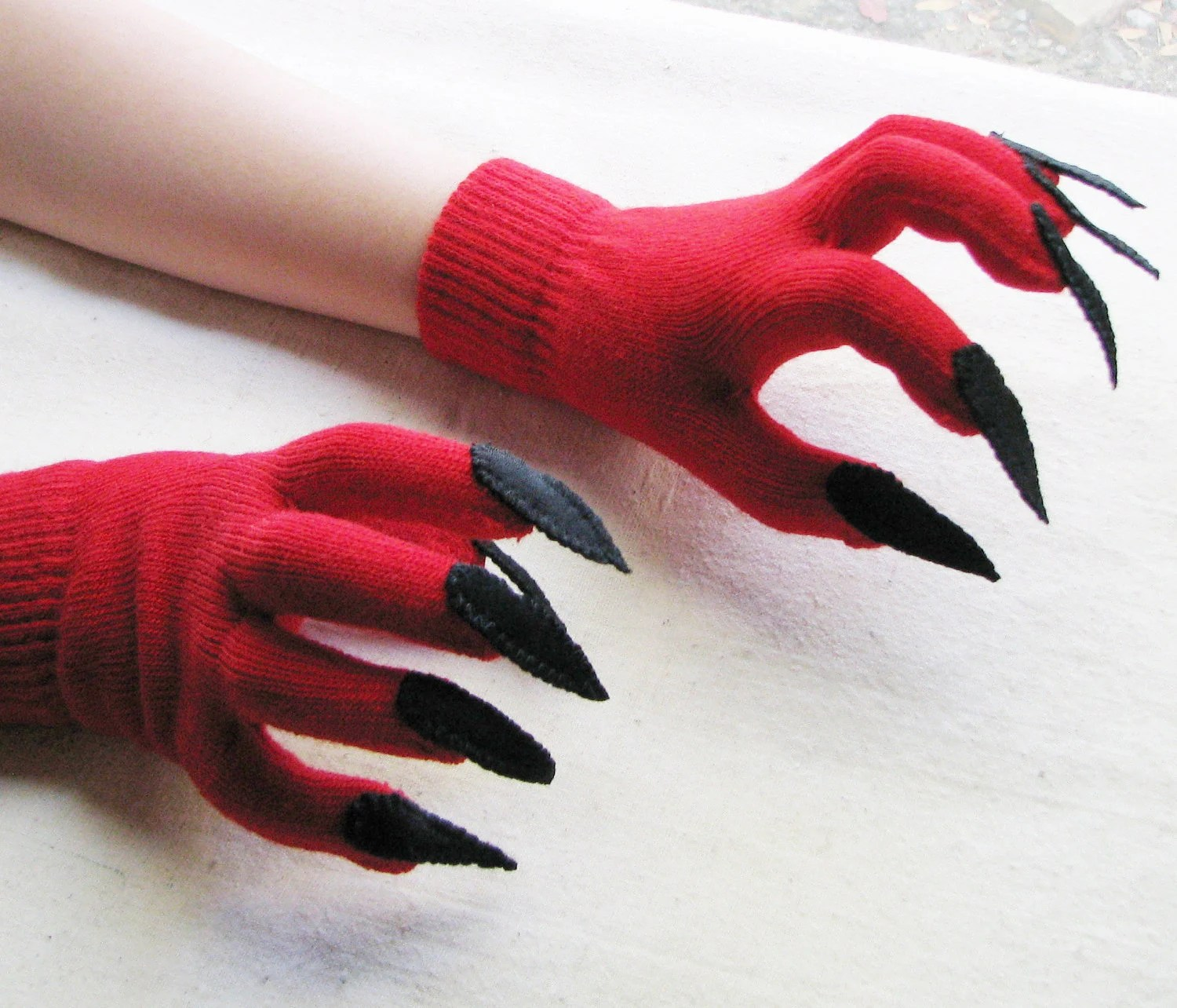 Gloves with claws, red and black, for Halloween costume or pretend play, one size stretch glove - SnippetFairy