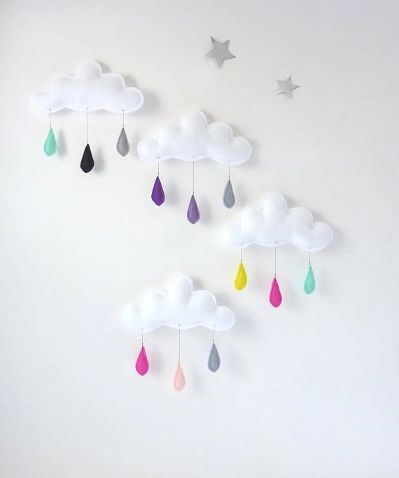 Cloud mobile.... Rain of colors....Cream-Pink powder-Bright pink...drops