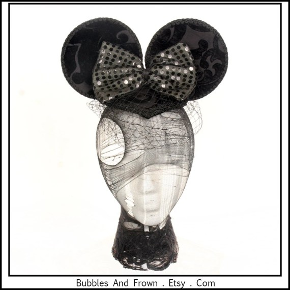 Extra Large Mouse Ears.. Mouse Ear Fascinator, Black with Sequined Bow - BubblesAndFrown