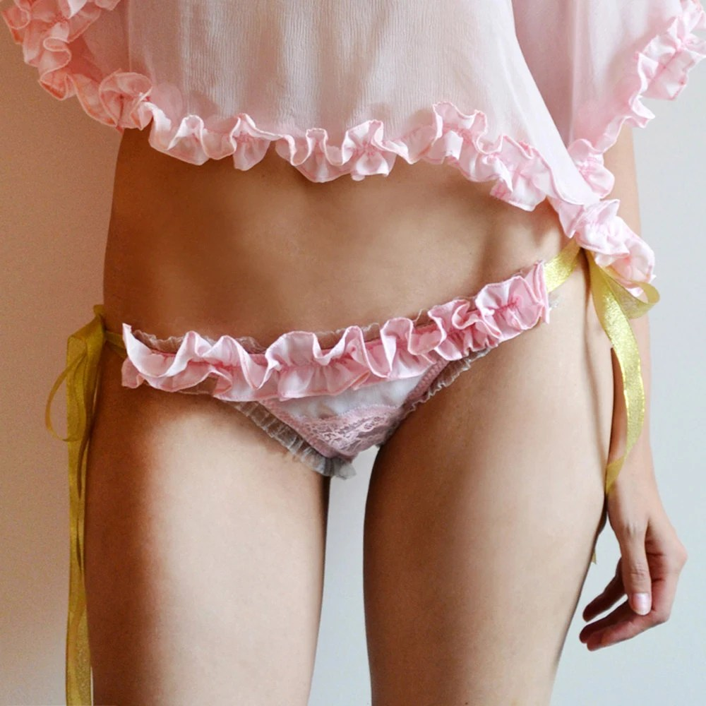 ELCEE Pink Ruffled Silk Side Tie Panties with gold ribbon Bows