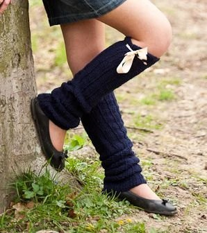 Brigitte inspired crochet fashion leg warmers in Navy with Satin ribbon in Ivory Autumn fashion