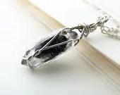 Tibetan Black Quartz Point Silver Wire Wrapped Pendant Necklace - Wire Wrap Jewelry - OWLandHOURGLASS