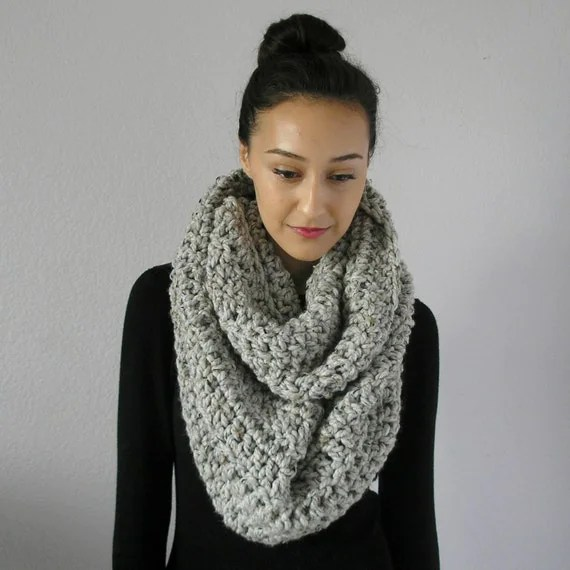 chunky knit crocheted infinity scarf circle