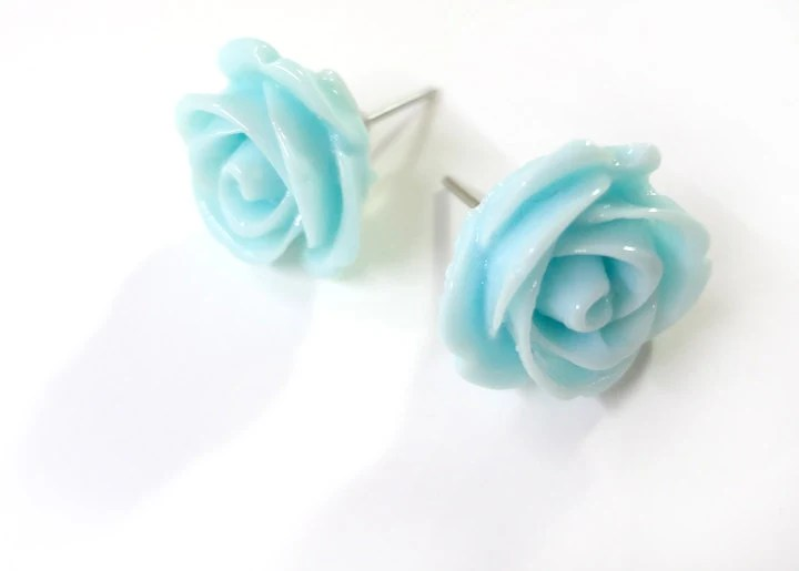 Simple Light Blue Turquoise Rose Earring Posts - Glamour365