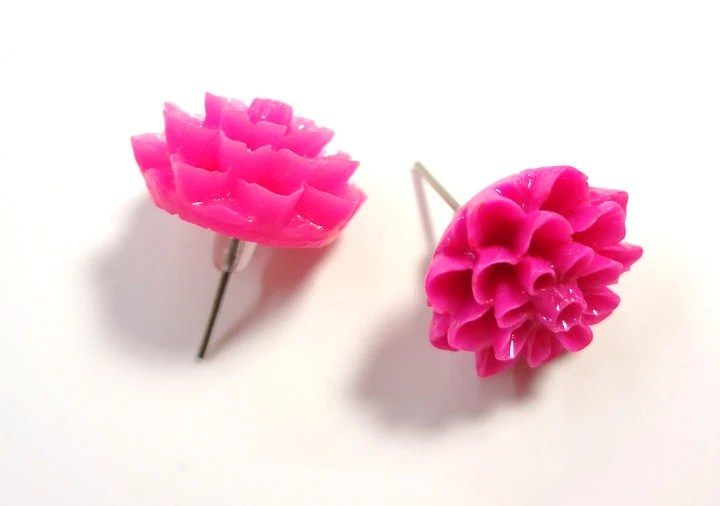 Hot Pink Chrysanthemum Post Earrings - Glamour365