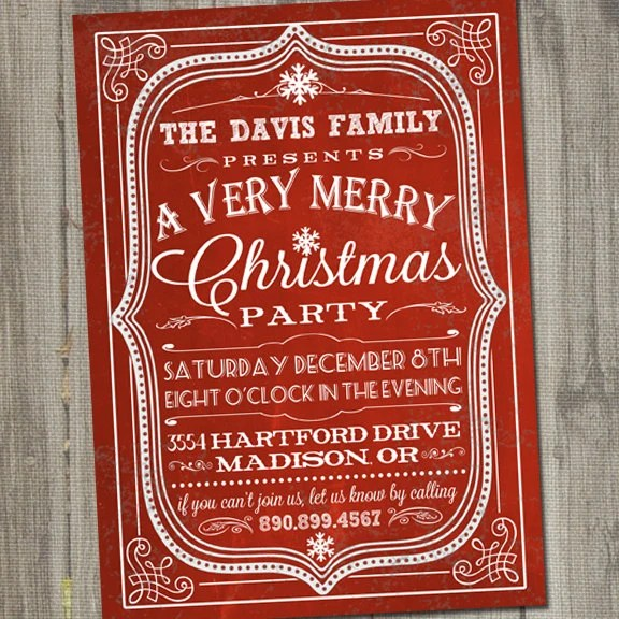 Vintage Retro Chalkboard Christmas Holiday PRINTABLE Party Invitation