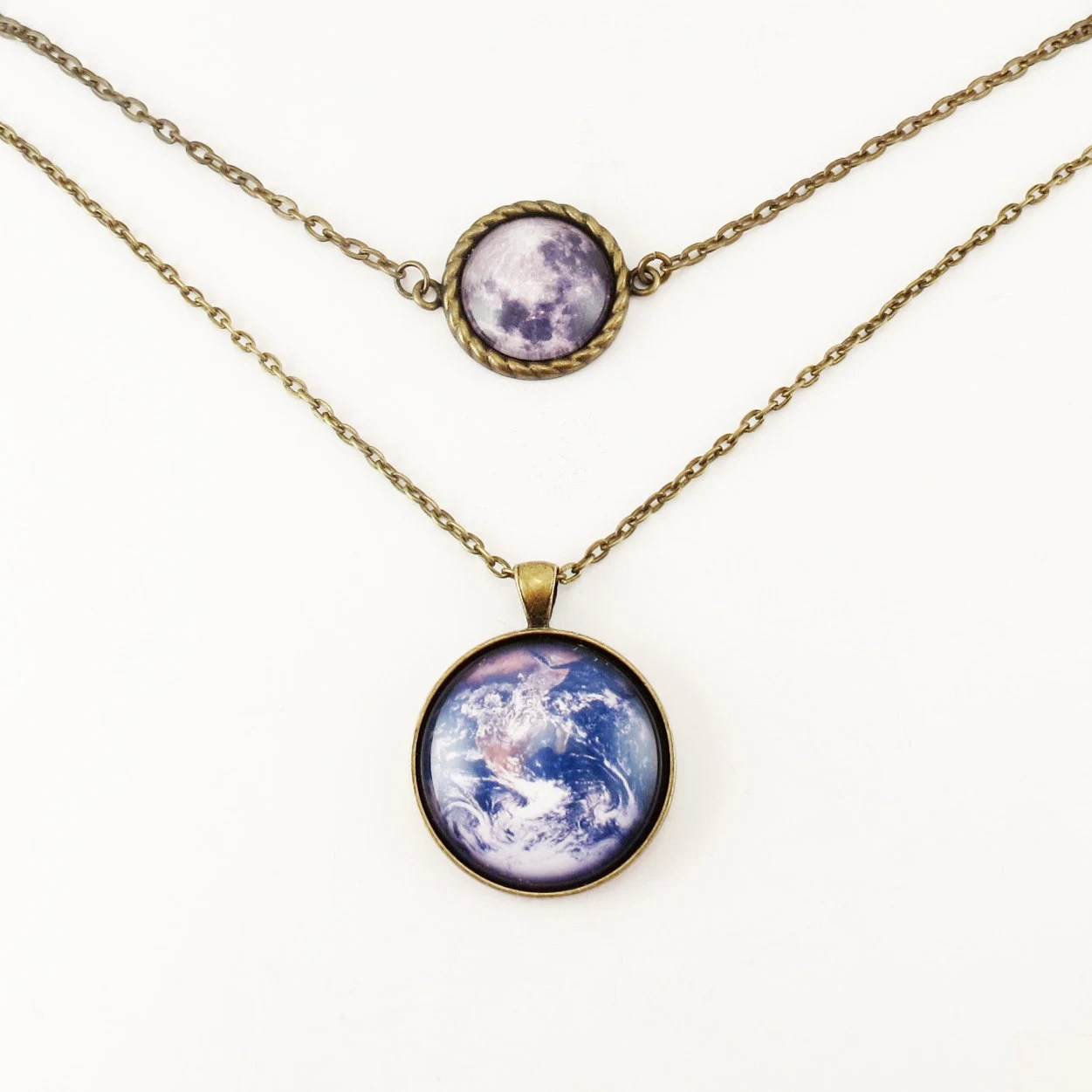 Earth And Full Moon Two Tier Necklace, Multi Strand Necklace - cellsdividing