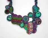Handmade knitted necklace with bamboo and textile beads, purple blue green, OOAK - rRradionica