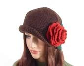 Crochet Cloche Hat with Flower - Brown - UnlimitedCraftworks