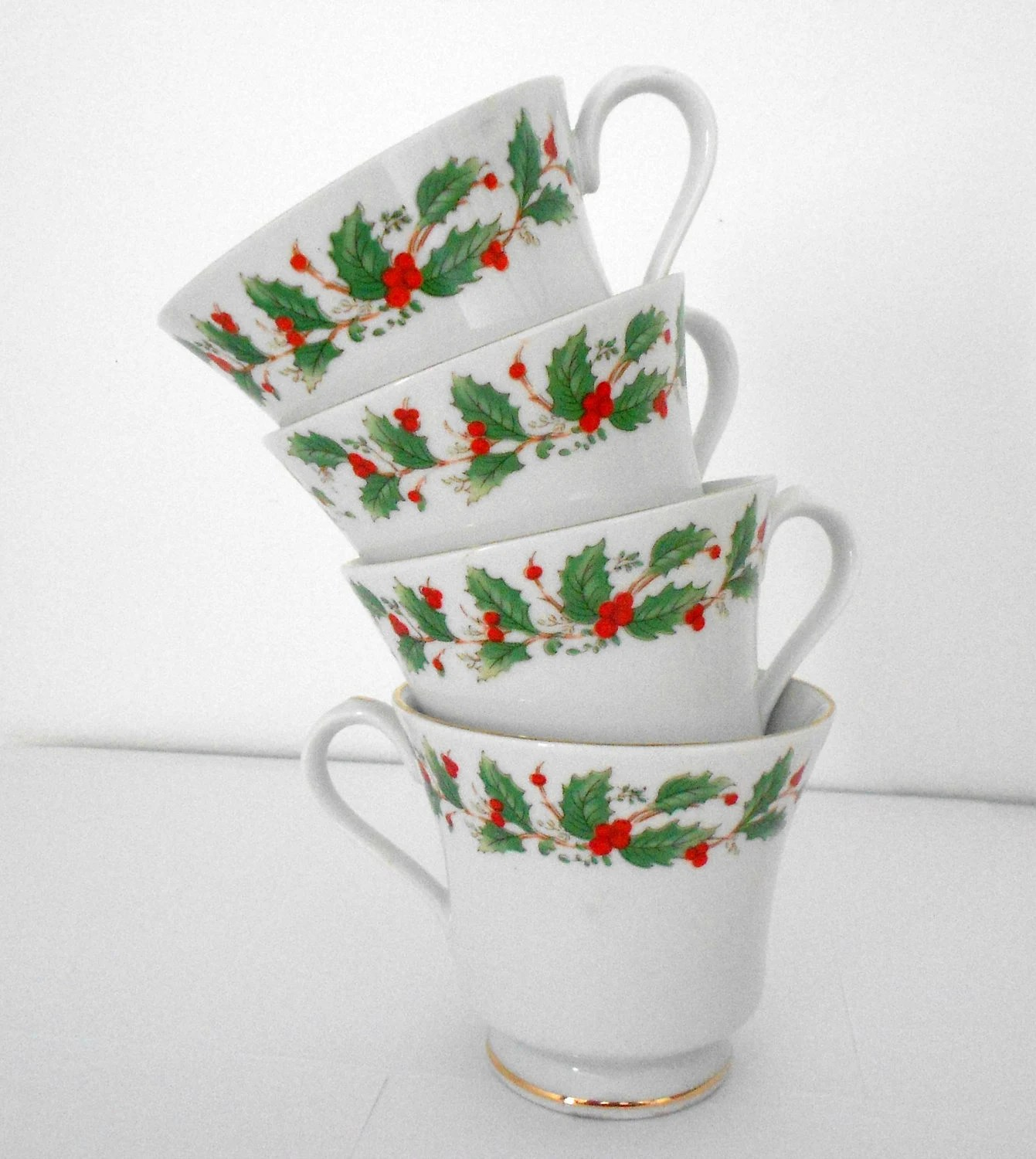 Christmas Teacups China Pearl Noel