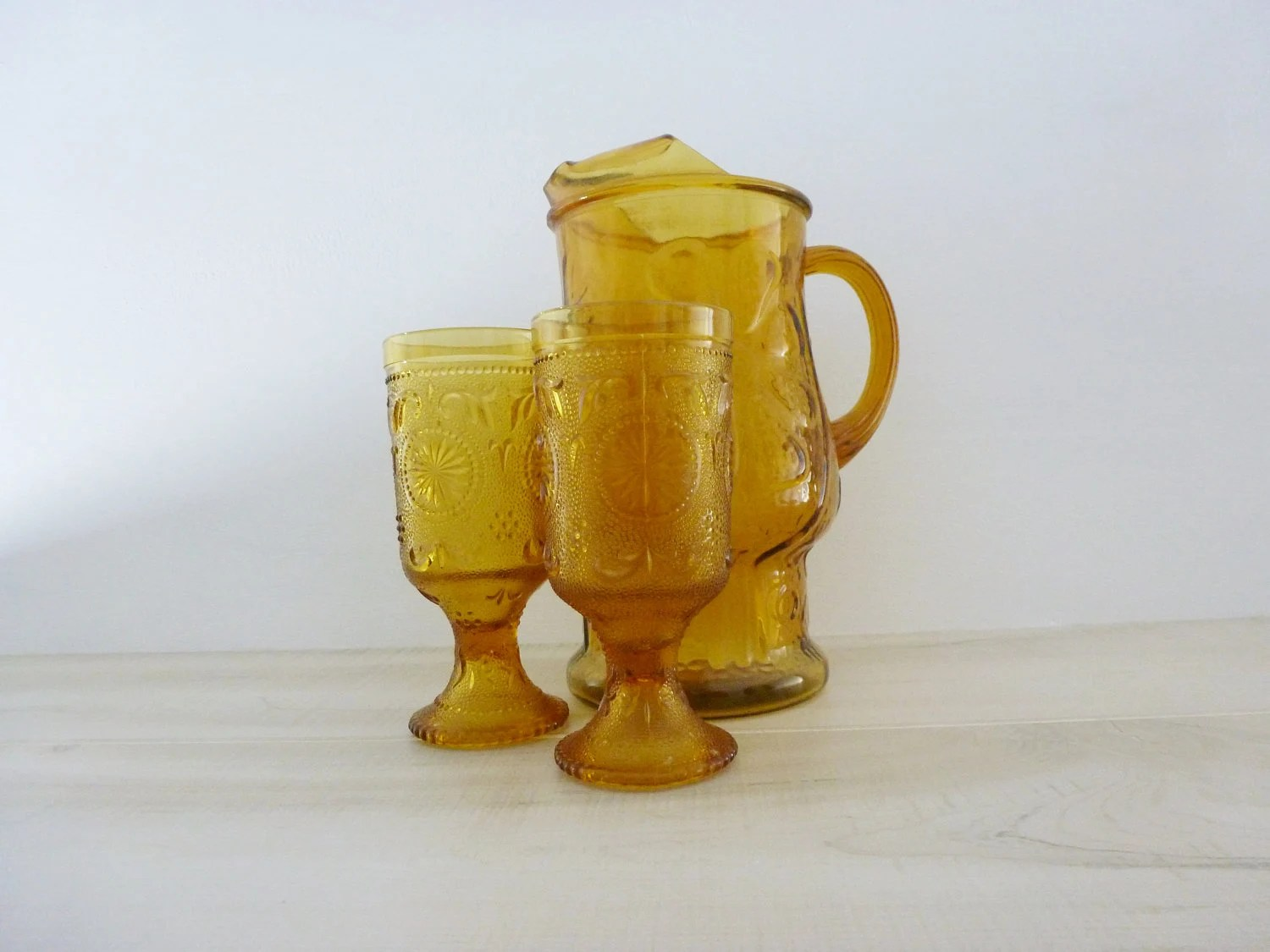 1960s amber yellow glass - vintage kitchen - vintage pitcher and glasses - 24KaratOld