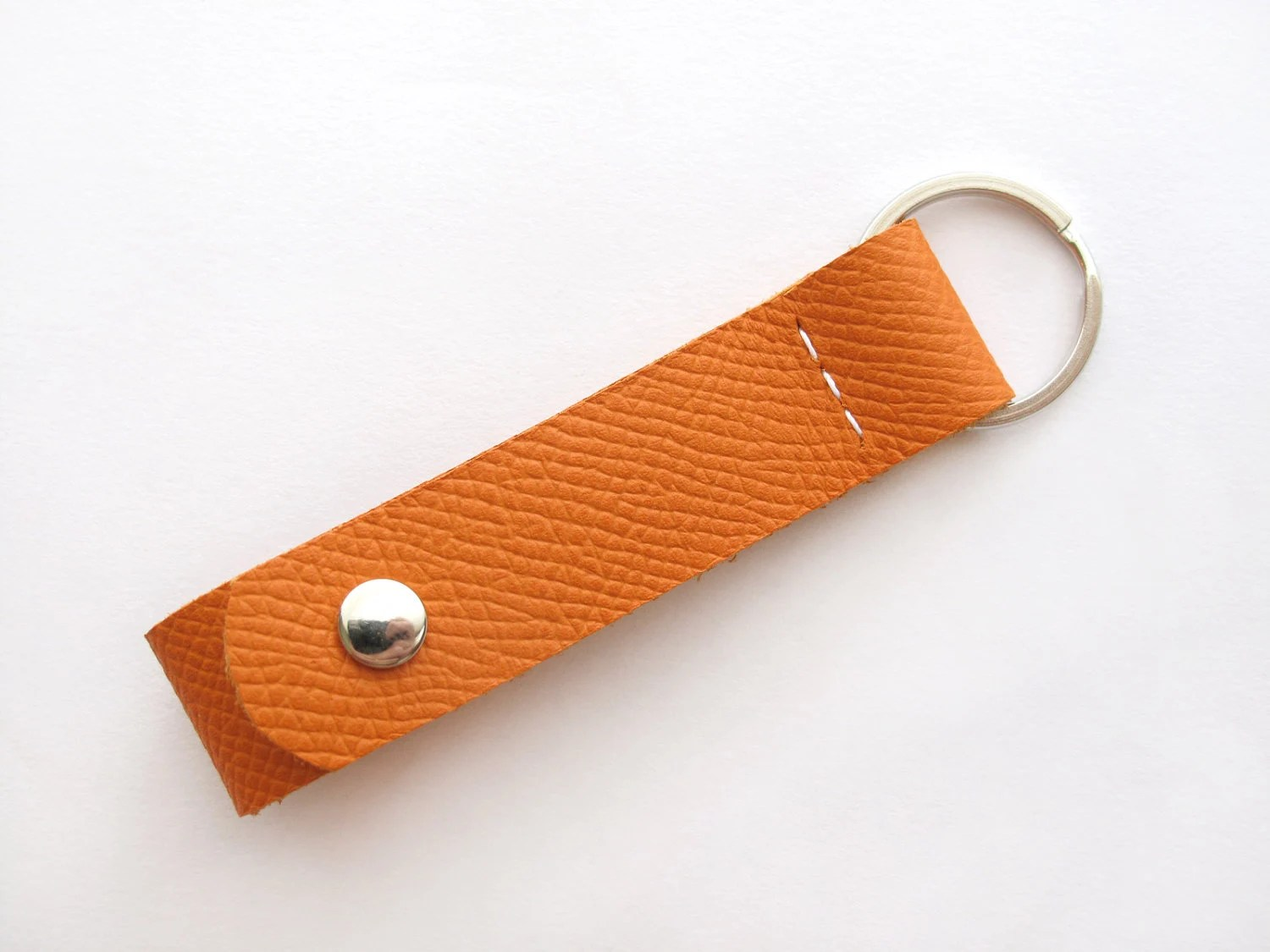 Porte Clé en Cuir Orange