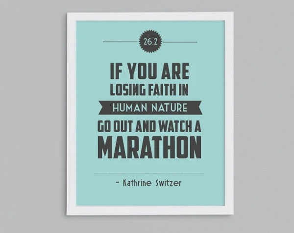 Boston Marathon 26.2 Kathrine Switzer Retro Print - Typographic Inspirational Running Quote - 8x10