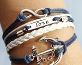 Karma bracelet,love bracelet,anchor bracelet,antique silver bracelet,dark blue wax cord white lmitation leather bracelet - best gift