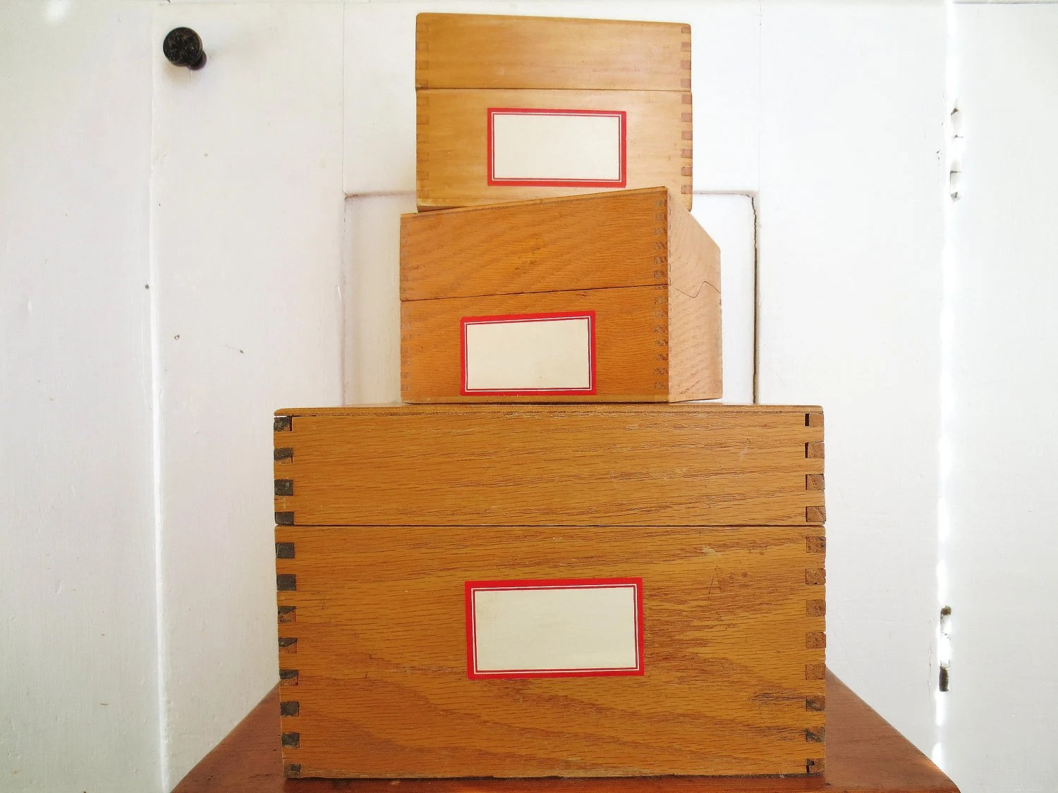 Think Outside the Box... Vintage Large Industrial Dovetail Wood Library Index Card File Drawer Box Cabinet - InWithTheOld
