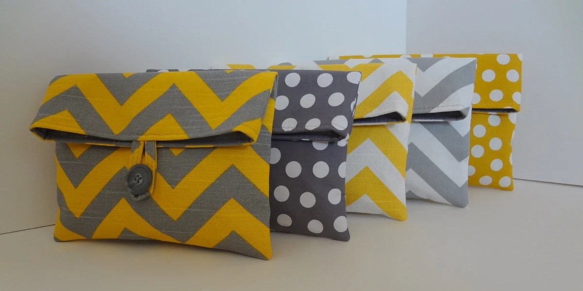 Yellow and Gray Bridesmaid Clutch set in Chevron and Polka Dot Set if 5 medium bags