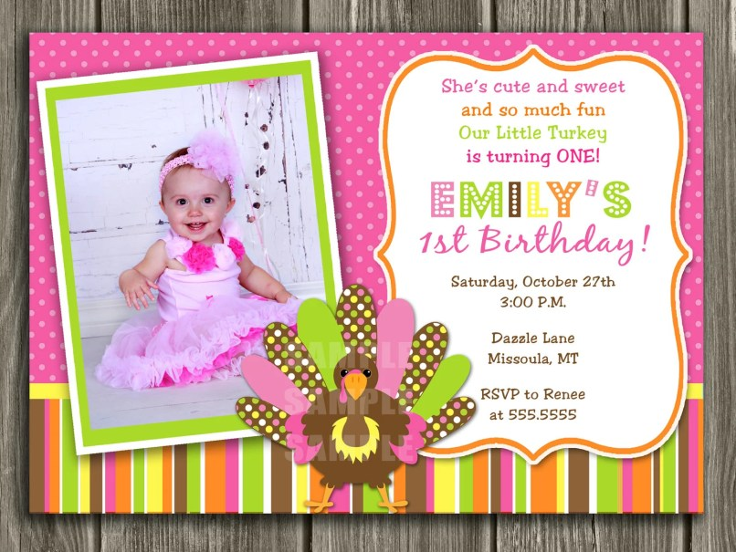 First Birthday Invitation Card Matter In English | Inviview.co