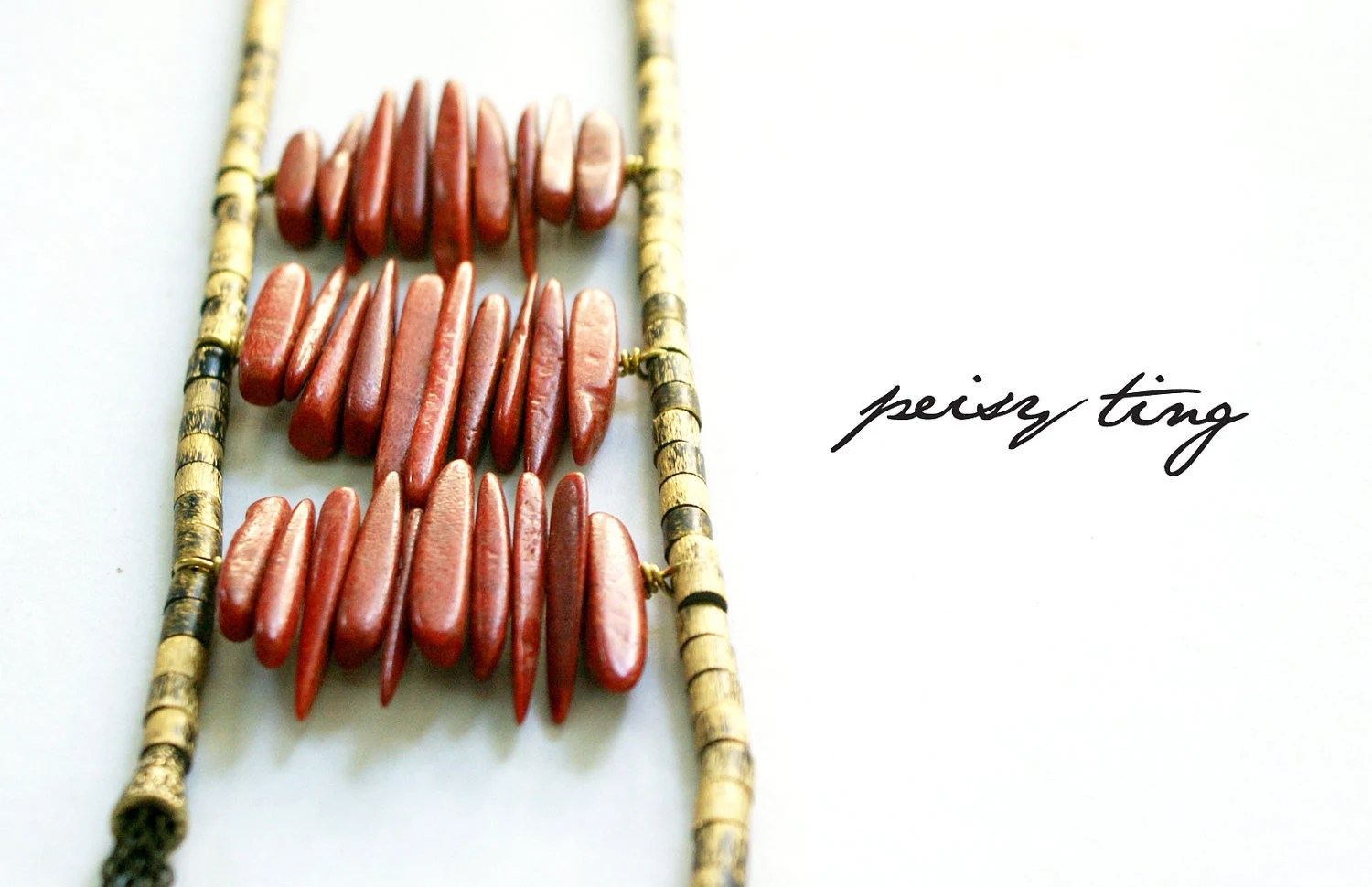 Leaps of Fire - Tribal Ladder Necklace, Red Coral & Brass Beads - peisyting