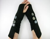 black fingerless gloves arm warmers fingerless mittens  wrists warmers arm cuffs recycled wool fall eco friendly curationnation - piabarile