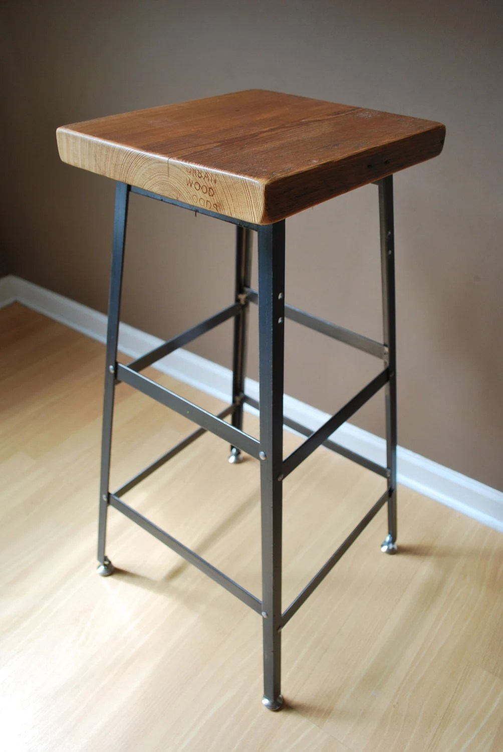 "Reclaimed Wood and steel industrial shop Stool. made in chicago 25"" counter height"