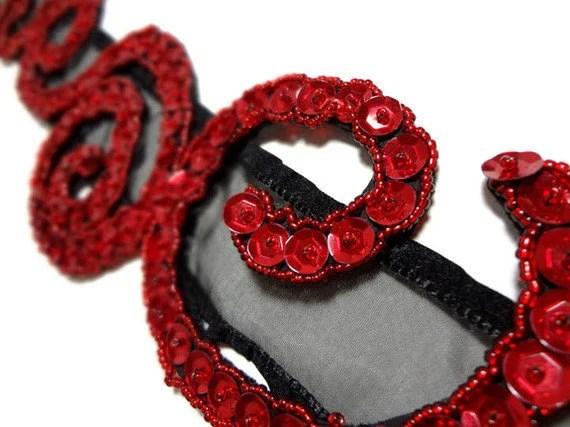 Red Sequin SprialsBeaded Ribbon Headband - MegansBeadedDesigns