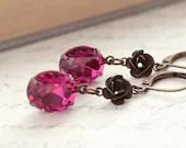 Fuchsia Earrings, Vintage Swarovski Rhinestones, Oval, Vintage Glass, Antique Brass, Rosebuds, Old Hollywood, Dark Pink Glass jewels - apocketofposies