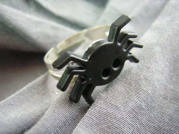 Black Spider Ring with Adjustable Band - Handmade by Rewondered D225R-00001 - $3.95