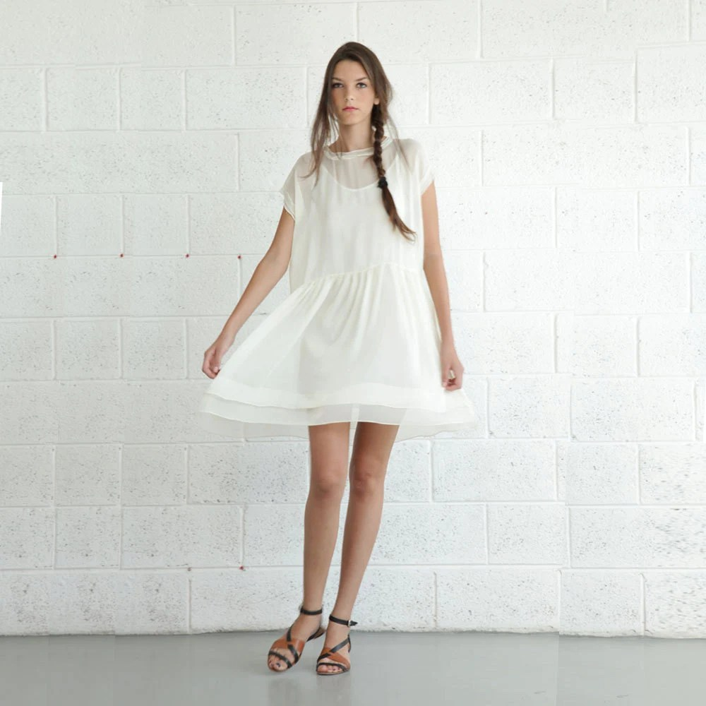 Ivory dress,ruffle Ivory dress, white Cocktail dress,ENJOY august Sale - naftul