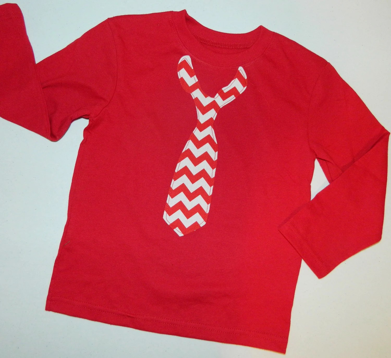 Boys Valentine SHIRT with red and white chevron loose tie applique for baby,  toddlers and boys - size NB - 16