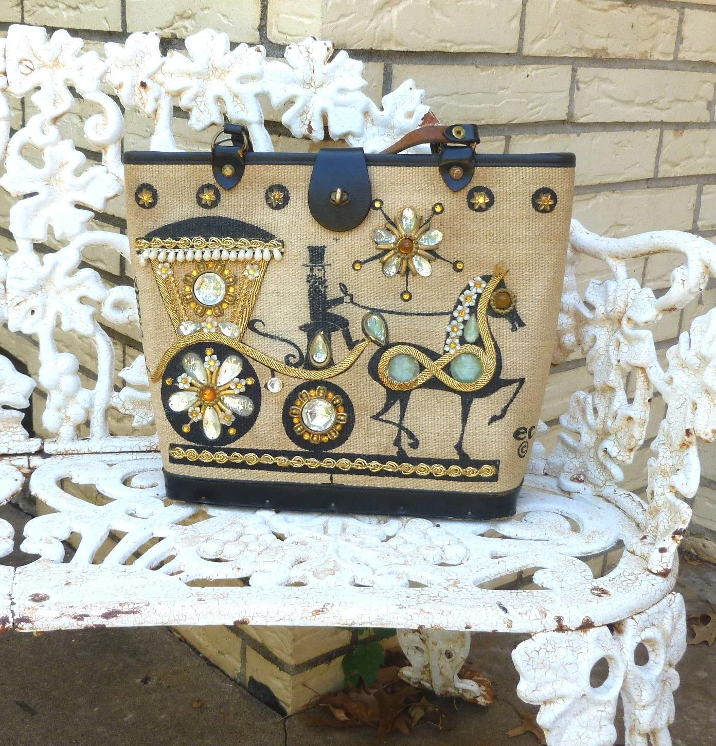 Enid Collins Jeweled Carriage Trade Purse