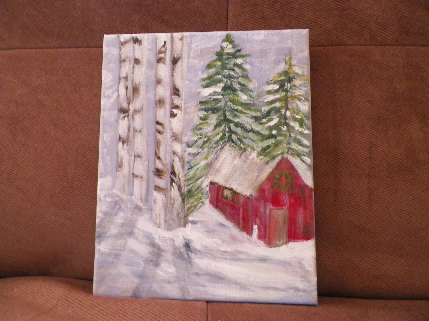 Winter Wonderland Original Acrylic Painting on Linen