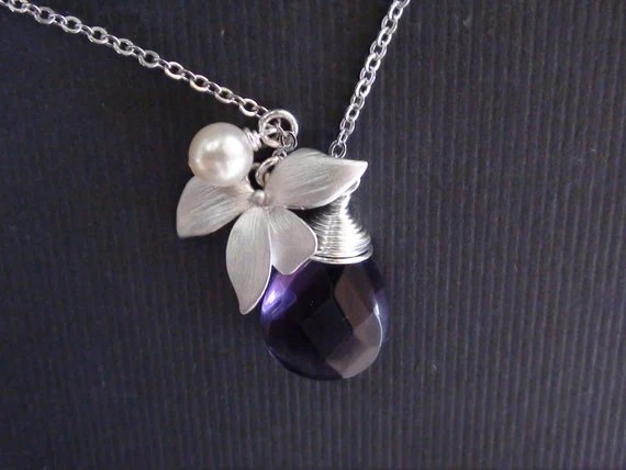 Personalized Birthstones-Amethyst Teardrop Briolette, Orchid Flower Connector And Cream Pearl-Bridesmaids Wedding Jewelry