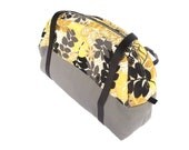 Weekender Tote Shoulder Bag Mustard Yellow Grey Black Floral - InstinctivelyIndie