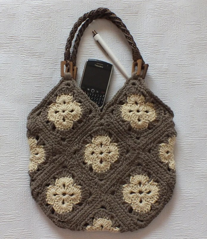 Brown and Beige Handbag  With Bamboo Straps / Handles shoulder bag-crocheted bag-hand made, Ready To Ship