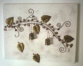 Bird's House - Birds on a Tree - Jewelry in a Wall - Antique Metal Bronze - Metal Leaves - Metal House Bird - PetalsTouch
