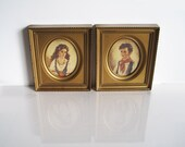 Pair of vintage framed prints of Chiko and Elena by Ann Allaban numbered - ReverseChronology