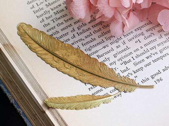 10% OFF - Pure Copper Large Feather Bookmark, Brass Bookmark, 114x23mm, Pkg of 4 pcs, C05Y