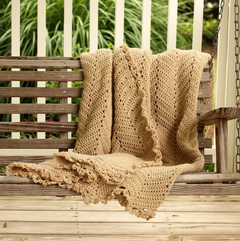Hand Crochet Afghan khaki Lace Color Autumn - FoundationCreations