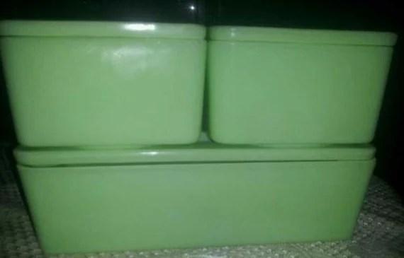 3 Vintage Jeanette Jadeite Refrigerator Dishes- Full set